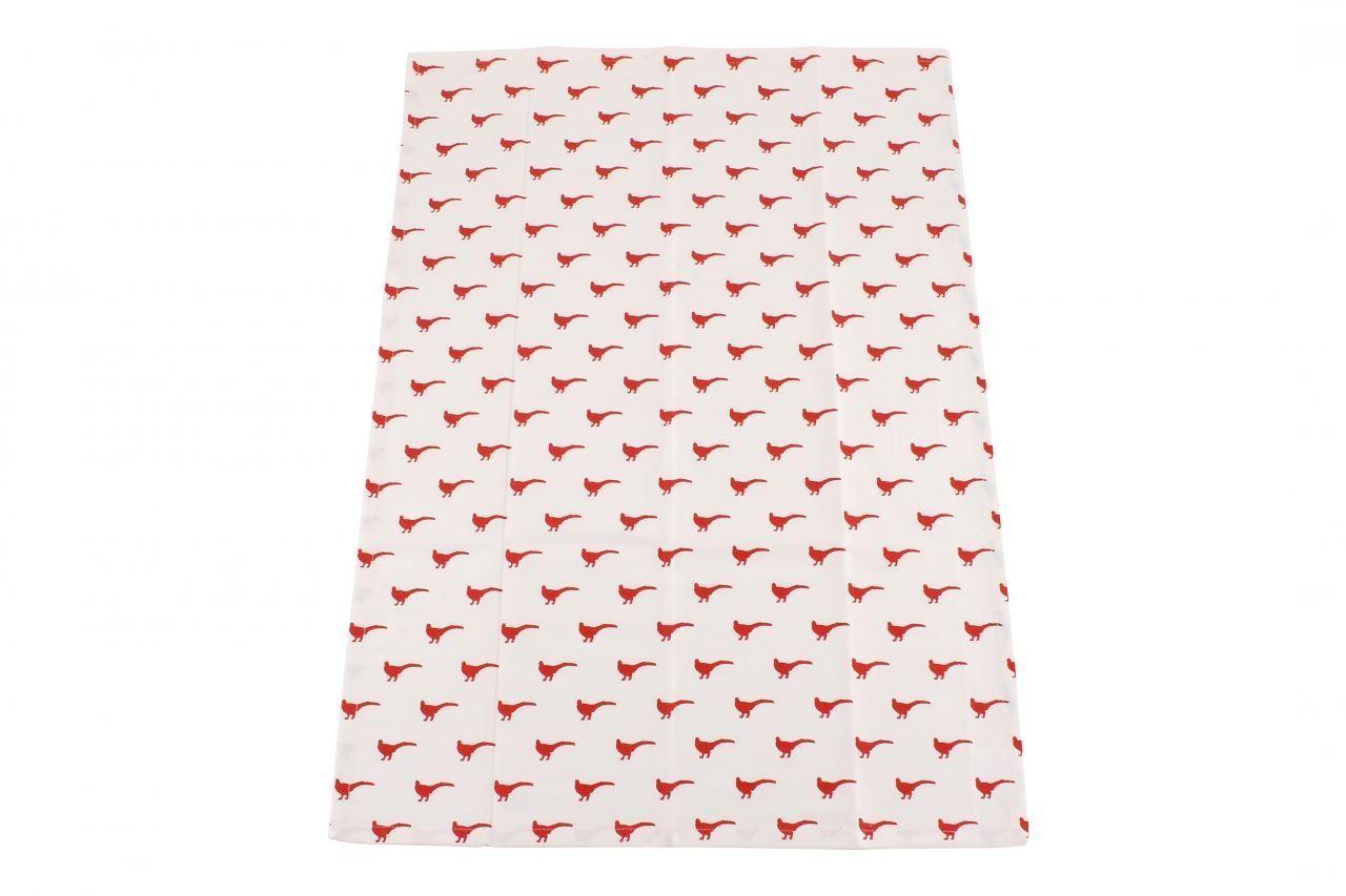 100% COTTON DESIGNED IN CORNWALL CREAM RED PHEASANT KITCHEN TEA TOWEL 70 X 50CM