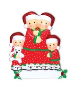 Pajama Family of 4 Personalized Christmas Ornament - $12.82