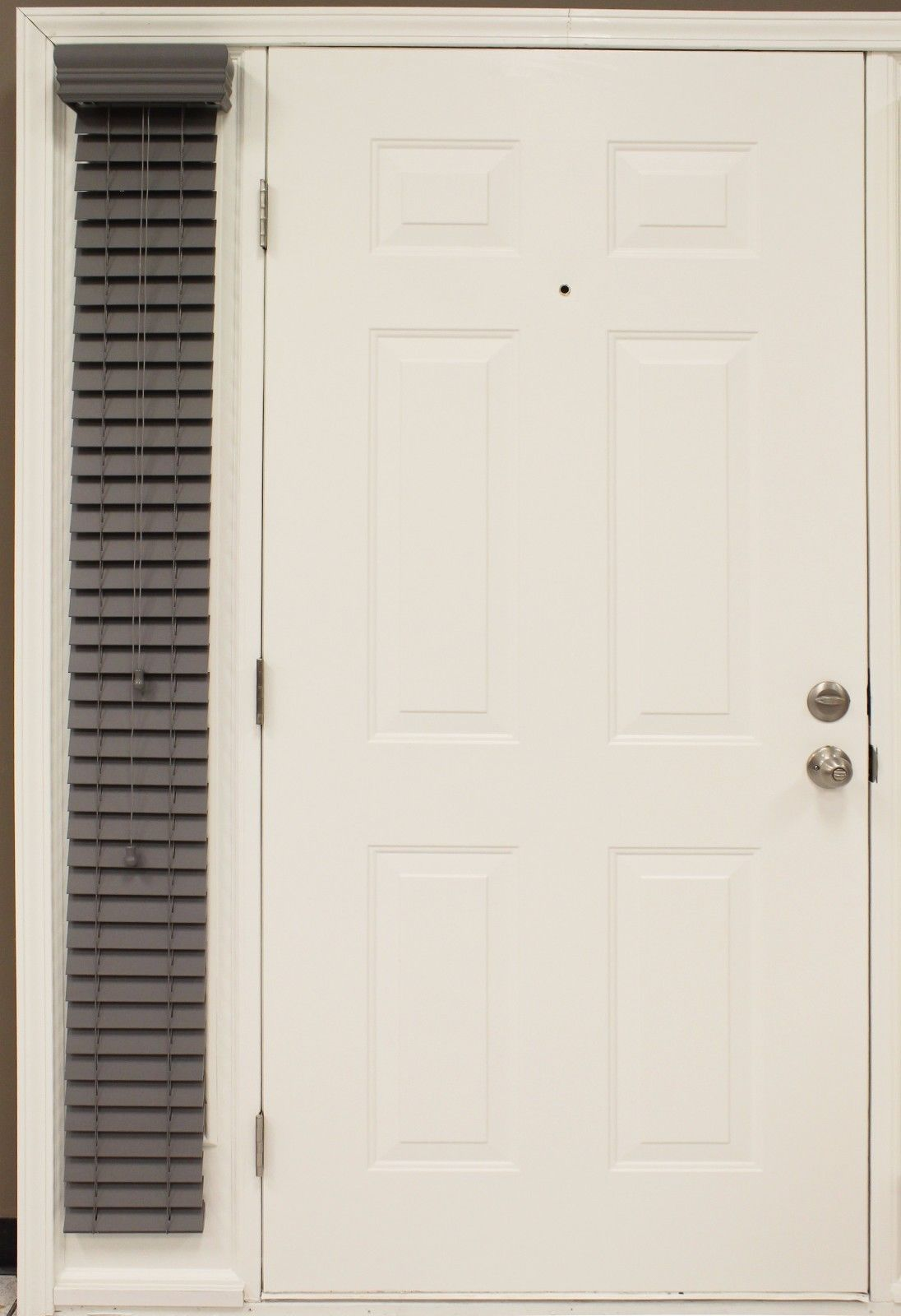 """Custom-made, 2"""" Granite- gray Faux Wood Single SIDELIGHT Blind for Side of Door for sale  USA"""