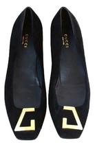Authentic gucci women flat shoes black suede size 38.5 - $185.00