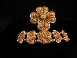 HUGE ornate ETRUSCAN set / Egyptian REvival bracelet / heavy GILT brooch / demi  - $235.00