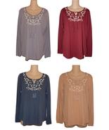 Sonoma Womens Embroidered Peasant Top Tassel Tie Cotton Knit S M L XL Ne... - $18.00