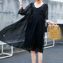 2Pcs Maternity Dress Set Fashion Solid Color V Neck Loose Casual Dresses Suit image 2