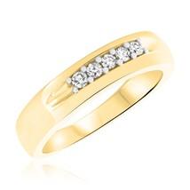 0.25 Cts Simulated Diamond Five Stone Men's Wedding Band Ring 14K Yellow... - $72.99