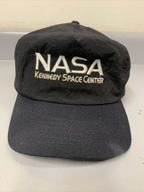 Vintage NASA Kennedy Space Center Black and White Satin Hat with Sweat G... - $17.60