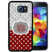 CASE FOR SAMSUNG S9 S8 S7 S7 S6 S5 PLUS RUBBER COVER GRAY DAMASK BURGUNDY - $13.98