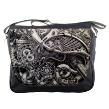 Messenger Bag Steampunk Gears In Elegant Grey Machine Design Game Animation Fant - $30.00