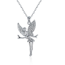 Crystaluxe Fairy Pendant Made  with Swarovski Crystals in White Gold - $12.73