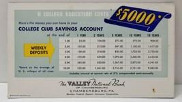 College Club Program Ink Blotter Valley Nat. Bank Chambersburg Pa Degree... - $15.74