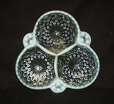 1940's Moonstone Clear Opalescent Hobnail 3 Part Relish Dish by Anchor Hocking - $19.79
