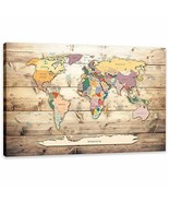 Vintage World Map Painting Artwork Modern Canvas Print Wooden Maps Pictu... - $89.09
