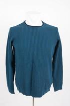 Massimo Dutti Boys Sweater Sz 13-14 Waffle Textured Blue Pullover 0903/6... - $39.59