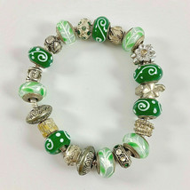 4150 Beautiful sterling silver and predominately green beads bracelet by... - $38.31