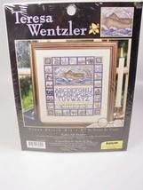 Noahs ark cross stitch sampler kit alphabet animals Christian kids room ... - $28.82