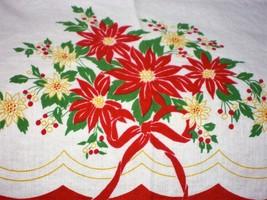 "vintage tablecloth 58"" x 80"" Christmas  linen 1950s Poinsettia Bow Recta... - $24.99"
