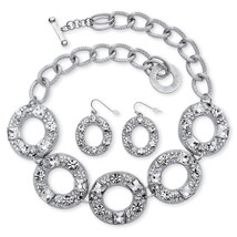 PalmBeach Jewelry 2 Piece Crystal Circle Necklace and Earrings Set in Silvertone - $31.99