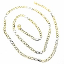 18K YELLOW WHITE GOLD CHAIN 3 MM, 19.7 INCHES, ALTERNATE GOURMETTE AND OVALS image 1