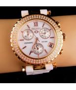 Swiss PRECIMAX white enamel band - Ceramic 150 Rhinestone watch / yellow... - $350.00