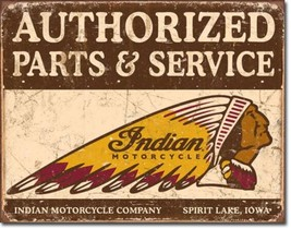 Indian Motorcycles Sales Service Metal Sign Tin New Vintage Style USA  #... - $10.29