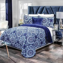 Indigo Blue Floral Flannel Extra Soft Blanket Set in XL Sizes in Thick Wadding - $79.15+