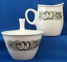 Franciscan Bird N Hand Creamer and Covered Sugar Bowl Whitestone Ware ca 1967 - $18.95