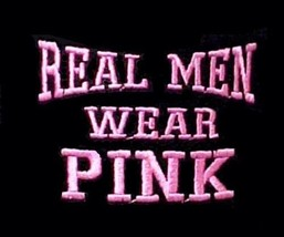 Breast Cancer T Shirt L Real Men Wear Pink Awareness Black Cotton Blend New - $19.37