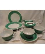 Green White Beyer Bock Partial Dessert Set 4 plates 3 cups 1 Saucer 1927... - $7.49