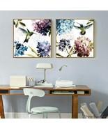 Almudena® Small Fresh Purple Hydrangea Hummingbird Flowers Painting No F... - $9.68+