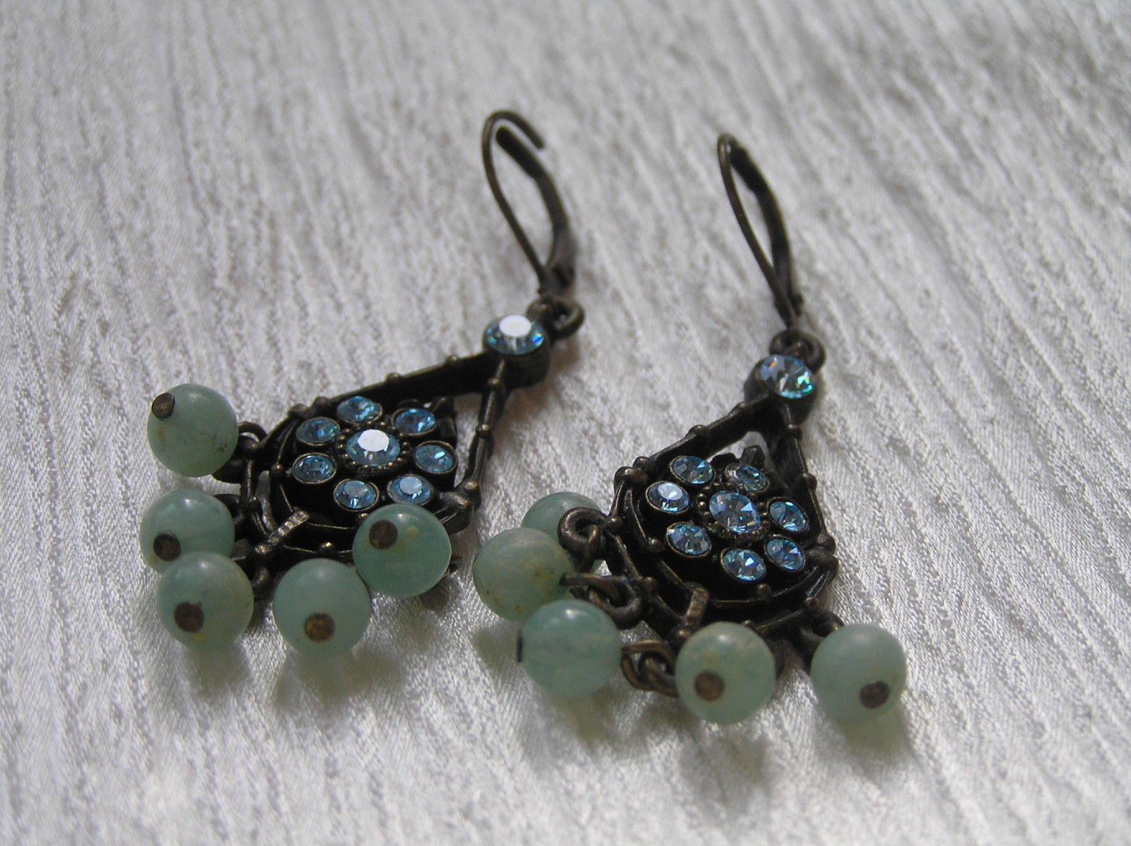 Primary image for Estate Darkened Bronze Teardrop with Blue Rhinestone Flower & Green Plastic Bead