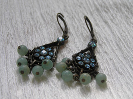 Estate Darkened Bronze Teardrop with Blue Rhinestone Flower & Green Plas... - $8.59