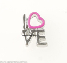 10pc Floating Charm Lot Silver Tone Love Block With Pink Heart For Memor... - $7.91