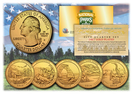 2014 America The Beautiful 24K GOLD PLATED Quarters Parks 5-Coin Set w/C... - $12.82