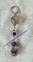 "Evil eye purple fluorite resin amethyst 3 1/2"""" handmade keyring - $5.00"