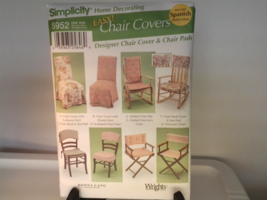 Simplicity Pattern 5952 Home Decorating Eight chair covers & Seat Pads N... - $4.99
