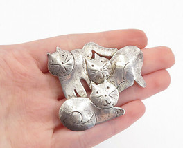 MEXICO 925 Sterling Silver - Vintage Etched Sitting Cat's Brooch Pin - B... - $41.56