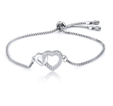 White Gold Plating Double Heart Link Charm Bracelet Crystal Jewelry For ... - $24.99