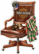 Harley Davidson Motorcycle Chair w/ Cat by Michael Fishel Plasma Cut Met... - $39.95