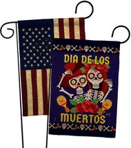 Dia De Los Muertos Pair Burlap - Impressions Decorative USA Vintage Applique Gar - $34.97