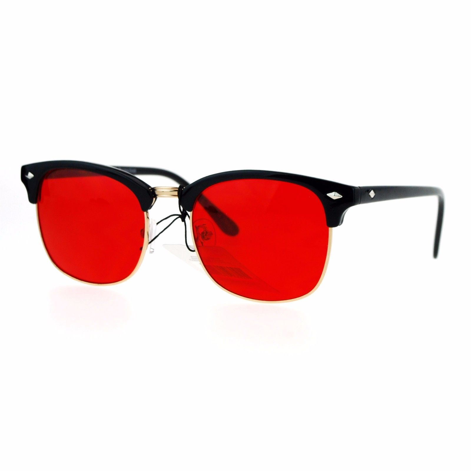 Color Lens Sunglasses Square Black Top Horn Rim Unisex Fashion UV 400