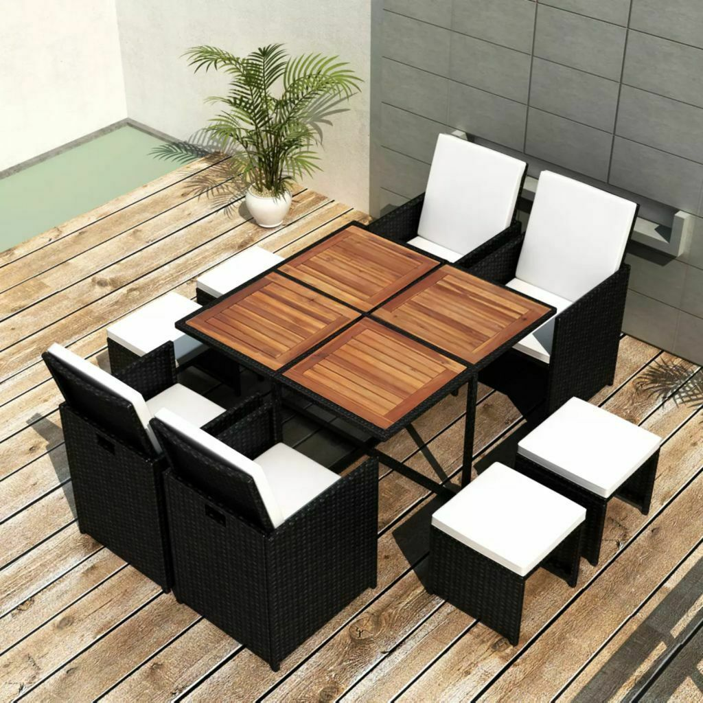 vidaXL Acacia Wood Outdoor Dining Set Poly Rattan Black Table Chair Seating