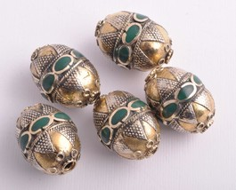 5 Vintage Turkoman Afghan ethnic tribal handcrafted beads - $49.50