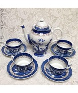 Vintage, Booths Real Old Willow A8025 England, 10-pc Blue Willow Tea Set... - $237.45