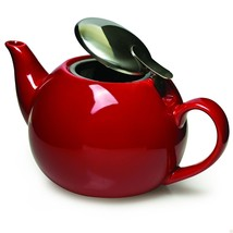 Primula Ceramic Teapot with Stainless Steel Infuser in Red - $24.99