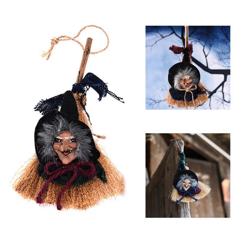 Halloween Party Witch In Maroon Ribbon Broomstick Hanging Decoration Supplies