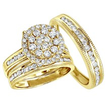 14K Yellow Gold Over His Her Simulant Diamond Wedding Ring Bands Trio Br... - $350.60