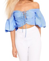 Blusas mujer blue striped shirt blusa off the shoulder butterfly sleeve lace up cropped thumb200