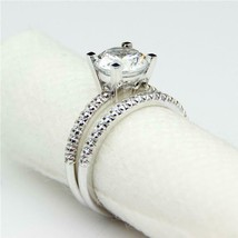 1Ct Round Cut Diamond Solitaire Engagement Bridal Ring Set 14k White Gol... - $123.75
