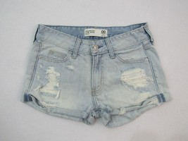 Abercrombie & Fitch Low Rise Light Blue Cotton Distressed Jean Shorts Si... - $33.24