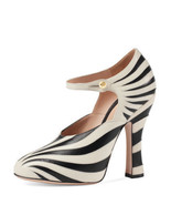 New $990 Gucci Lesley Mary Jane Zebra Stripe Leather Heels Pumps Size 37... - $411.02