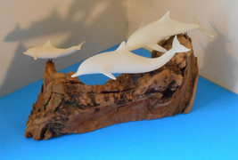 Large John Perry 3 Three dolphin~porpoises sculptures on Burlwood Nautic... - $40.64
